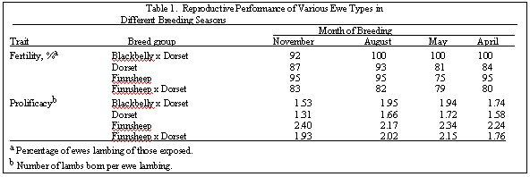Table 1 - Performance of Blackbelly Crossbred Ewes in Different Breeding Seasons
